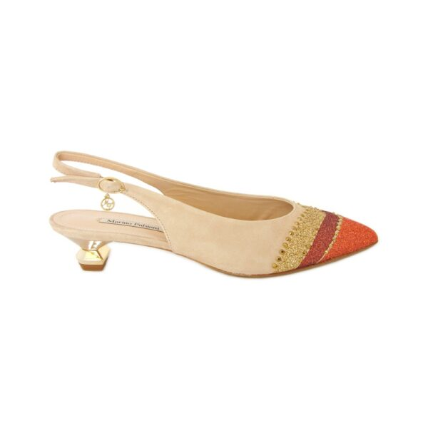 Бежевые замшевые туфли слингбэк на маленьком каблуке Marino Fabiani