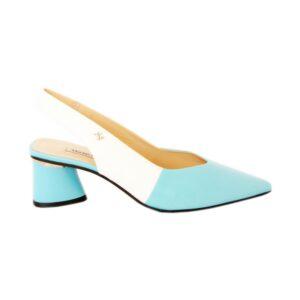 Бирюзовые туфли с открытой пяткой на невысоком каблуке Marino Fabiani