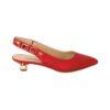Красные вечерние туфли с открытой пяткой на маленьком каблуке Marino Fabiani