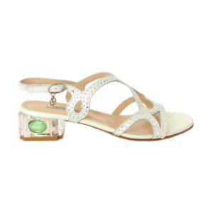 Замшевые белые перламутровые босоножки на маленьком каблуке Marino Fabiani