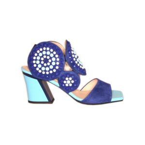 Замшевые синие босоножки на голубом каблуке Marino Fabiani