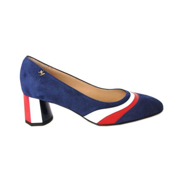 Замшевые туфли Marino Fabiani синего цвета с белой и красной вставками