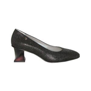 Замшевые чёрные туфли с перламутровым напылением Marino Fabiani