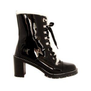 Gianni Renzi Couture чёрные зимние ботинки из лаковой кожи на каблуке
