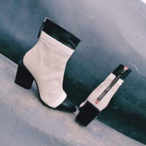 Halmanera Nunzy 07 бежево-чёрные кожаные ботинки новая коллекция