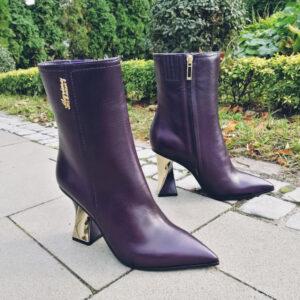 Marino Fabiani тёмно-фиолетовые кожаные осенние ботинки на высоком каблуке