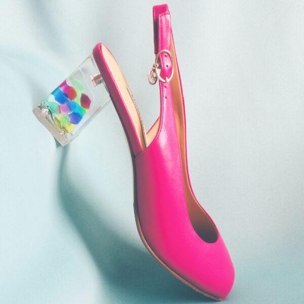 Малиновые босоножки Marino Fabiani на прозрачном каблуке