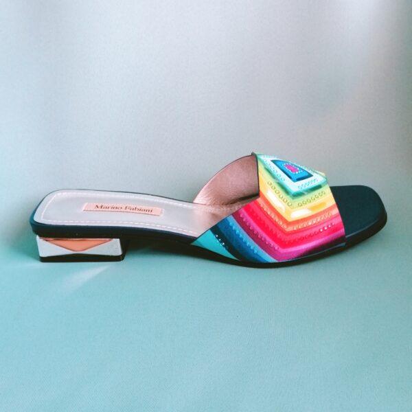 Разноцветные шлёпанцы Marino Fabiani новая коллекция 2021