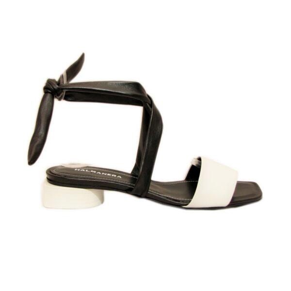 Женские итальянские кожаные сандалии Halmanera Dalia 22 чёрно-белые