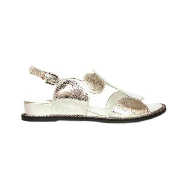 Женские итальянские сандалии Marino Fabiani на плоской подошве серебристые