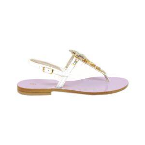 Женские итальянские сандалии Paola Fiorenza сиреневые с кристаллами