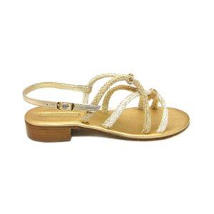 Женские итальянские сандалии с плетением Paola Fiorenza золотистые