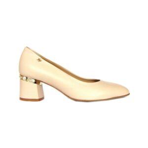 Женские итальянские туфли Marino Fabiani нюдовые на небольшом каблуке