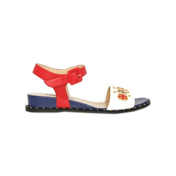 Женские сандалии Marino Fabiani красно-сине-белые новая коллекция 2021 артикул 8277