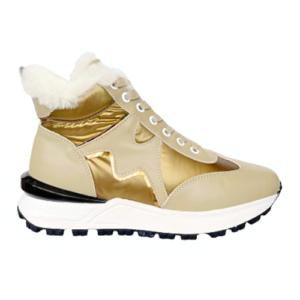 Женские итальянские кроссовки на меху Marino Fabiani бежевые новая коллекция 2021