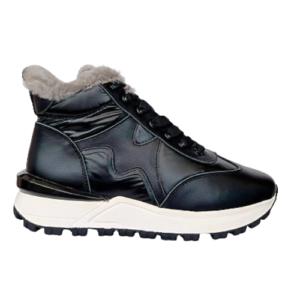 Зимние кроссовки на меху Marino Fabiani чёрные новая коллекция зима 2021-2022